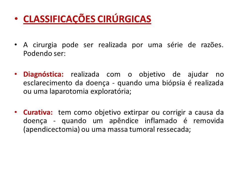 CLASSIFICAÇÕES CIRÚRGICAS