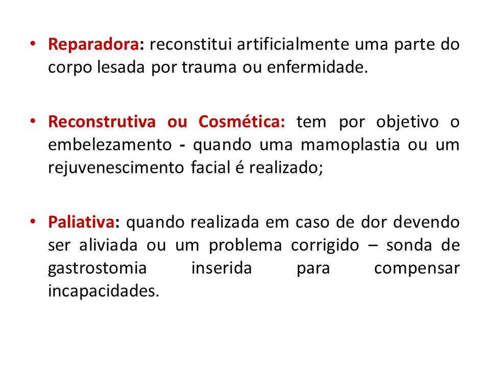 Reparadora: reconstitui artificialmente uma parte do corpo lesada por trauma ou enfermidade.