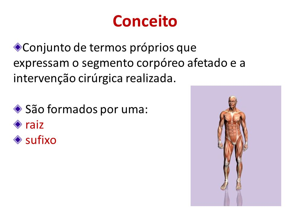 Conceito Conjunto de termos próprios que expressam o segmento corpóreo afetado e a intervenção cirúrgica realizada.