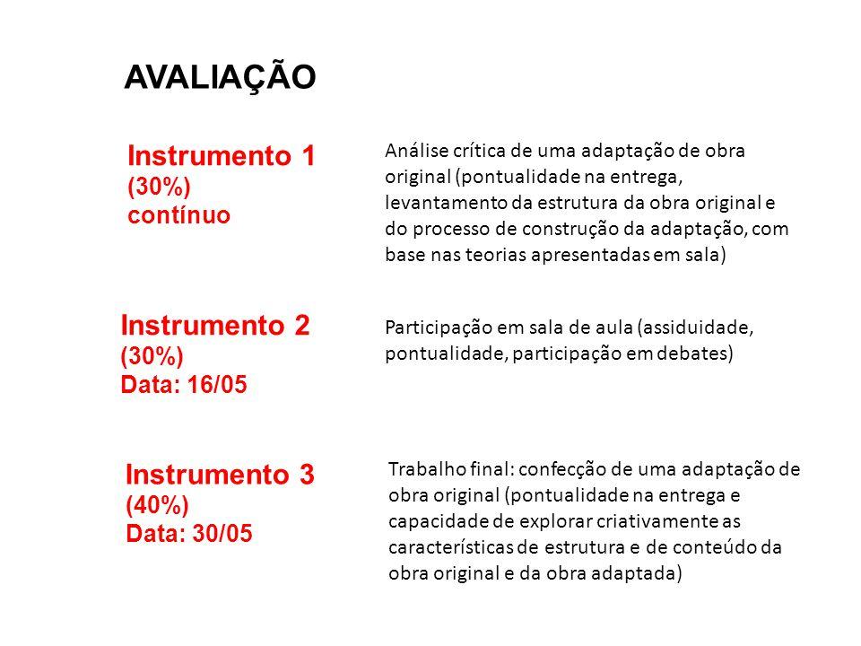 AVALIAÇÃO Instrumento 1 Instrumento 2 Instrumento 3 (30%) contínuo