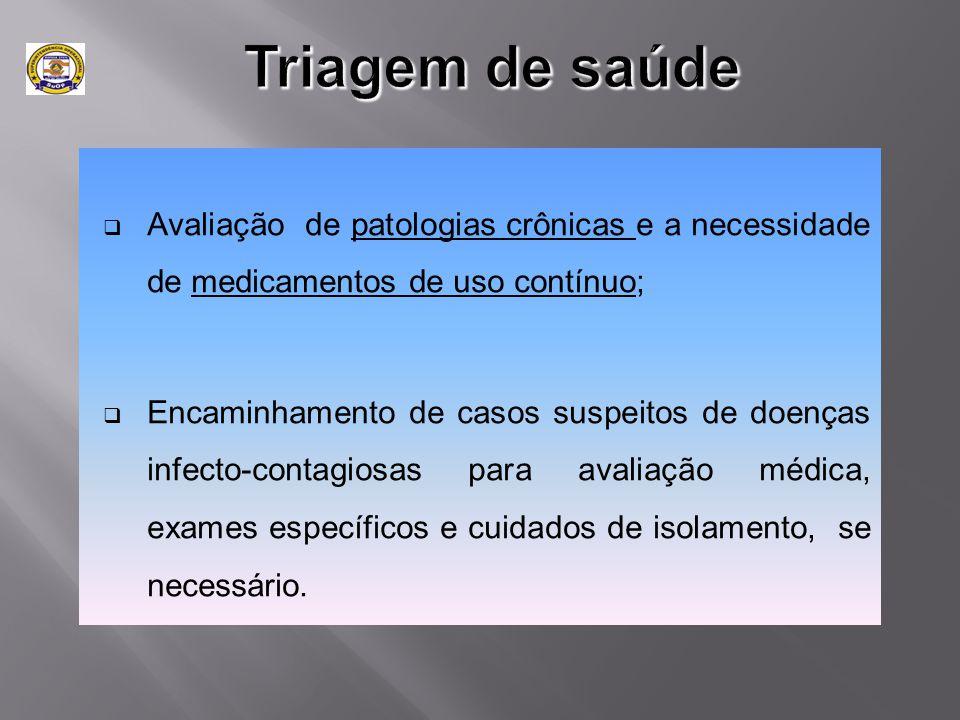Triagem de saúde Avaliação de patologias crônicas e a necessidade de medicamentos de uso contínuo;