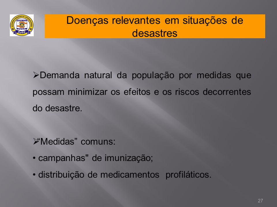 Doenças relevantes em situações de desastres