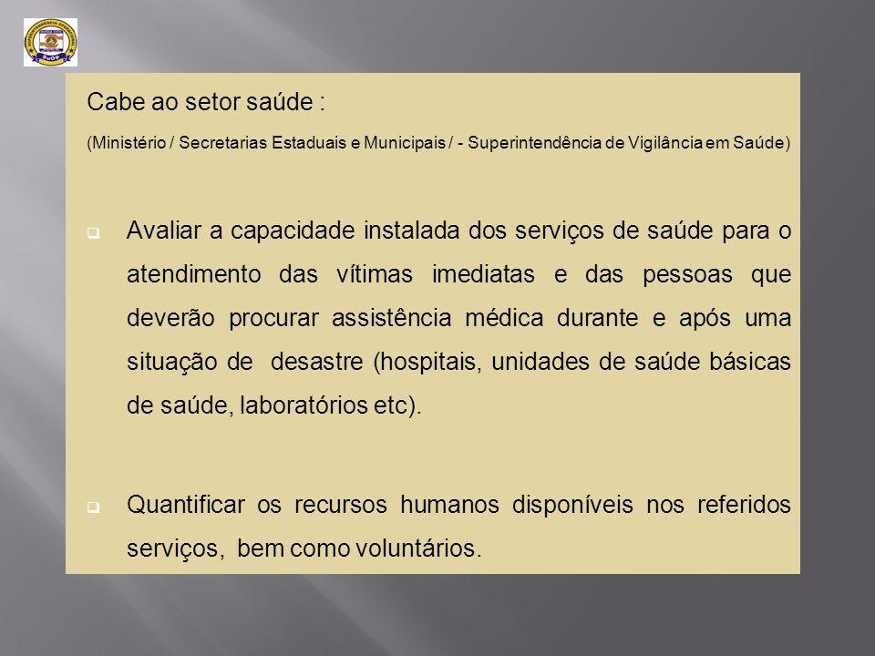Cabe ao setor saúde : (Ministério / Secretarias Estaduais e Municipais / - Superintendência de Vigilância em Saúde)