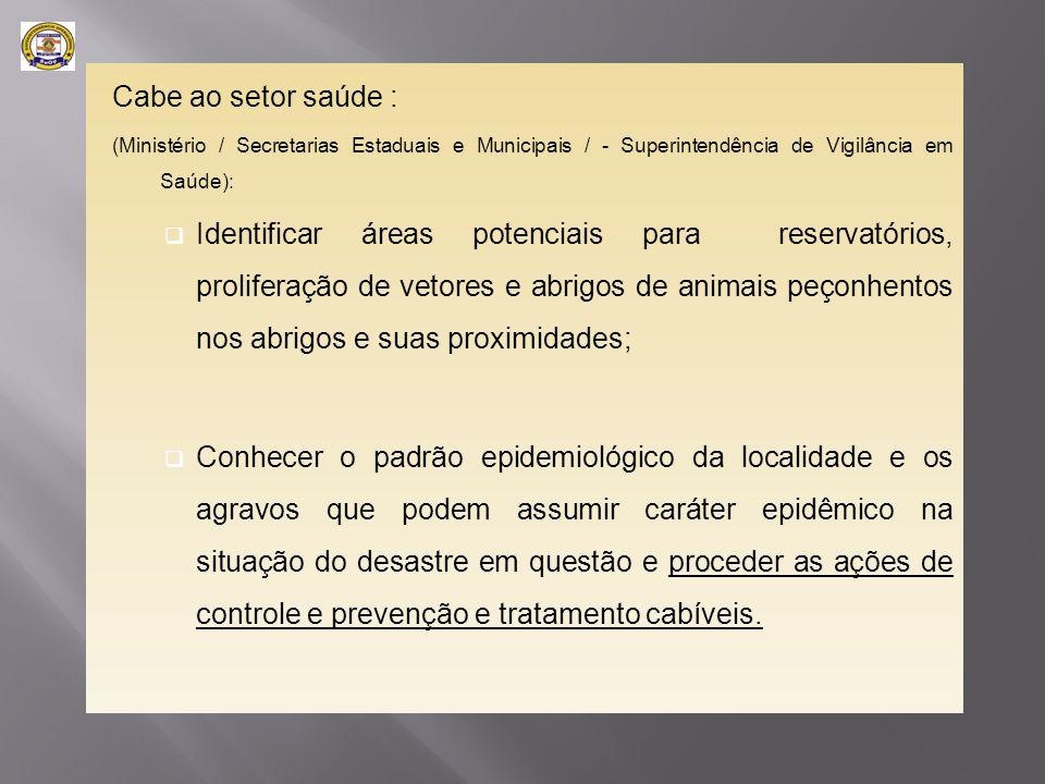 Cabe ao setor saúde : (Ministério / Secretarias Estaduais e Municipais / - Superintendência de Vigilância em Saúde):