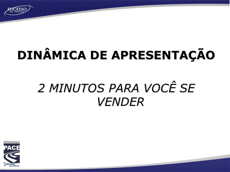 DINÂMICA DE APRESENTAÇÃO 2 MINUTOS PARA VOCÊ SE VENDER