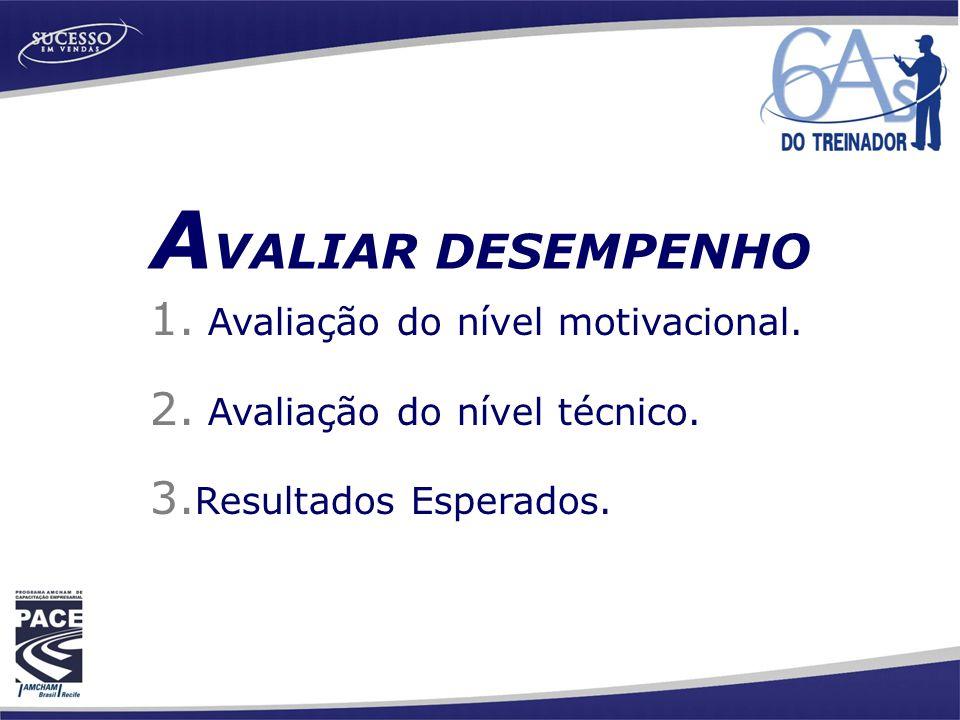AVALIAR DESEMPENHO Avaliação do nível motivacional.