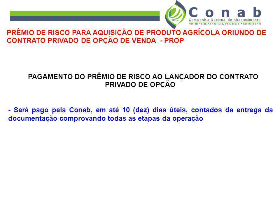 PAGAMENTO DO PRÊMIO DE RISCO AO LANÇADOR DO CONTRATO PRIVADO DE OPÇÃO
