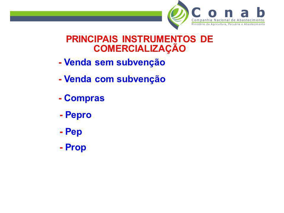 PRINCIPAIS INSTRUMENTOS DE COMERCIALIZAÇÃO