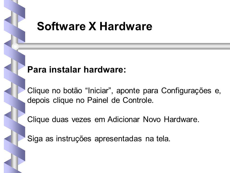 Software X Hardware Para instalar hardware: