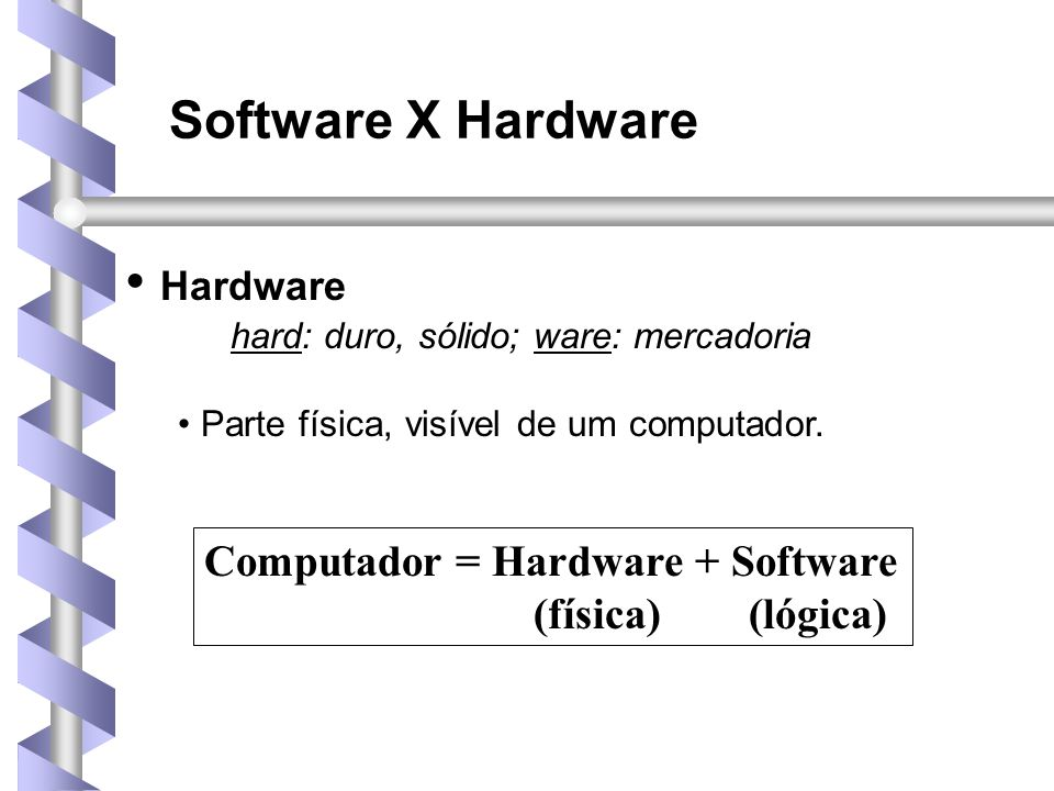 Hardware Software X Hardware Computador = Hardware + Software