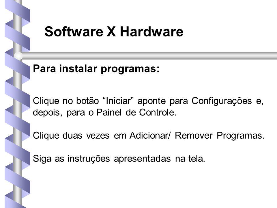 Software X Hardware Para instalar programas: