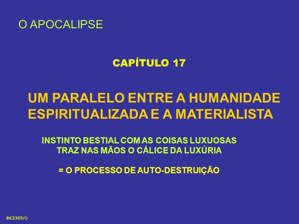 UM PARALELO ENTRE A HUMANIDADE ESPIRITUALIZADA E A MATERIALISTA