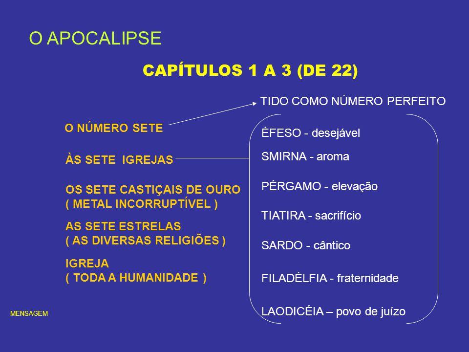 O APOCALIPSE CAPÍTULOS 1 A 3 (DE 22) TIDO COMO NÚMERO PERFEITO