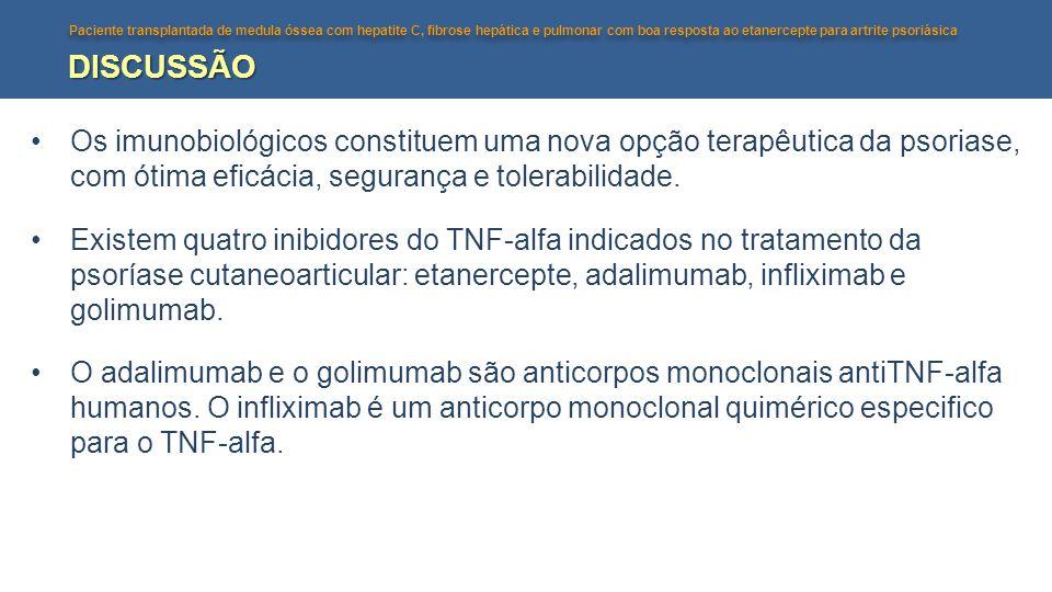 DISCUSSÃO Os imunobiológicos constituem uma nova opção terapêutica da psoriase, com ótima eficácia, segurança e tolerabilidade.