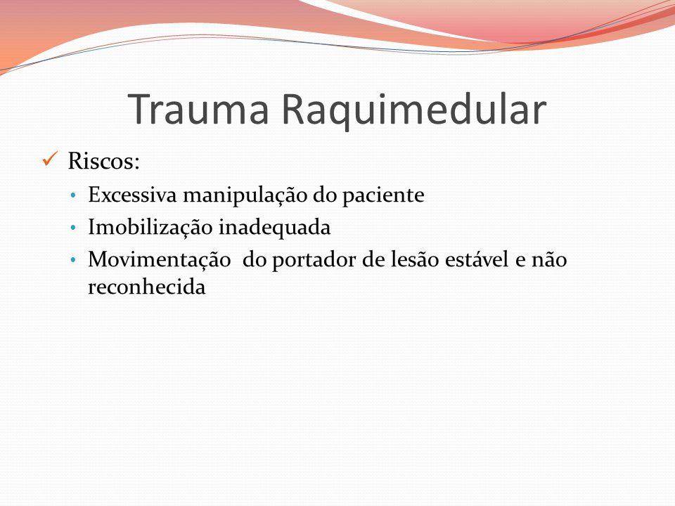 Trauma Raquimedular Riscos: Excessiva manipulação do paciente