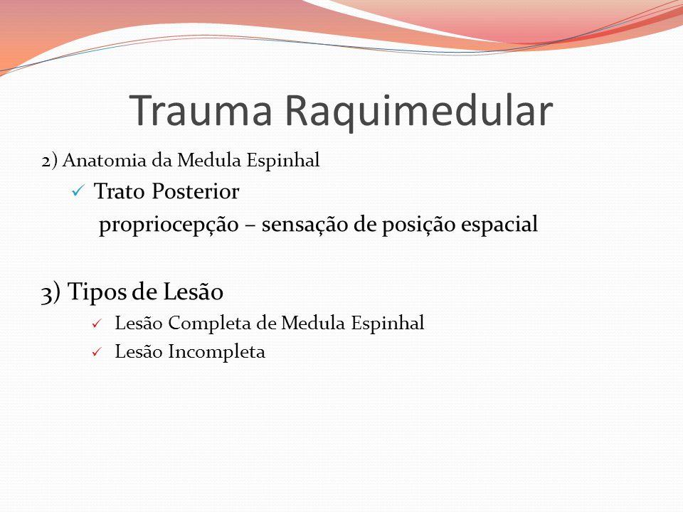 Trauma Raquimedular 3) Tipos de Lesão Trato Posterior