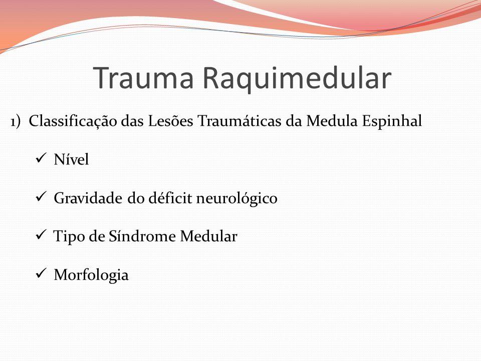 Trauma Raquimedular Classificação das Lesões Traumáticas da Medula Espinhal. Nível. Gravidade do déficit neurológico.
