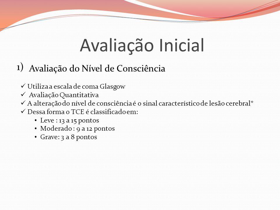 Avaliação Inicial 1) Avaliação do Nível de Consciência