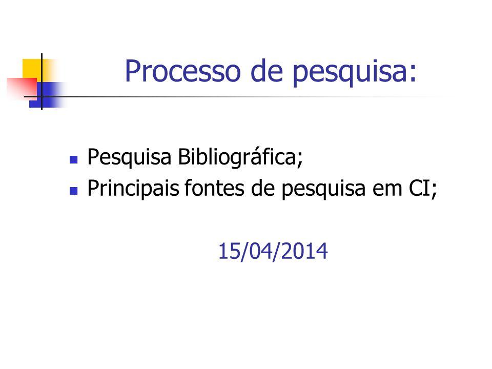 Processo de pesquisa: Pesquisa Bibliográfica;