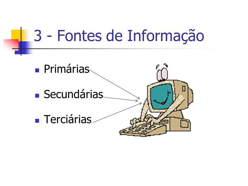 3 - Fontes de Informação Primárias Secundárias Terciárias