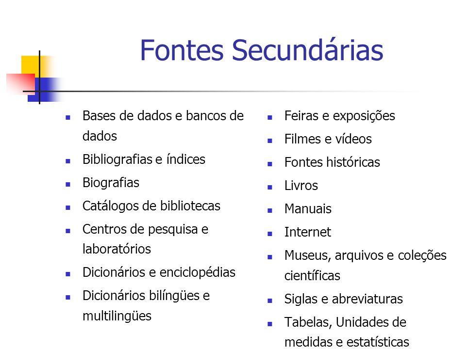 Fontes Secundárias Bases de dados e bancos de dados