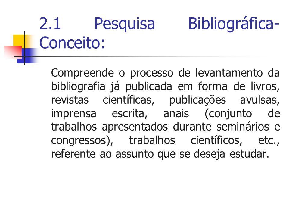 2.1 Pesquisa Bibliográfica- Conceito: