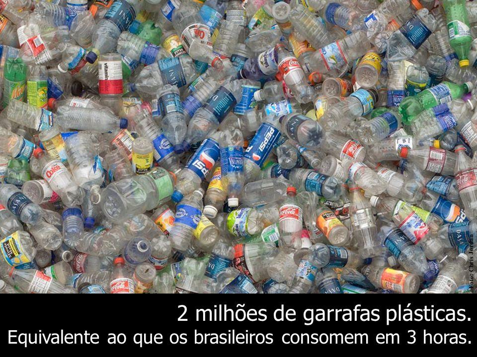 2 milhões de garrafas plásticas.