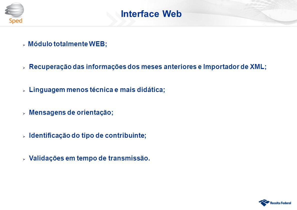 Interface Web Módulo totalmente WEB;