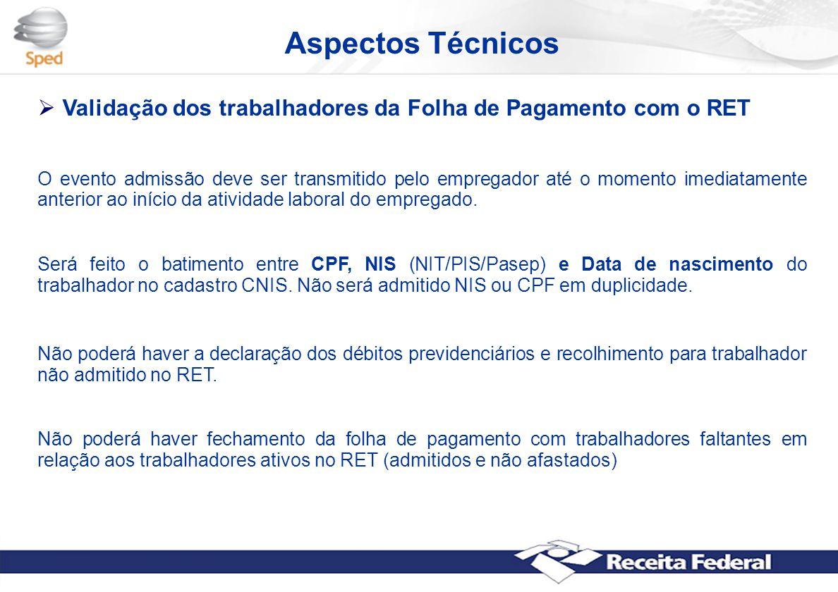 Aspectos Técnicos Validação dos trabalhadores da Folha de Pagamento com o RET.