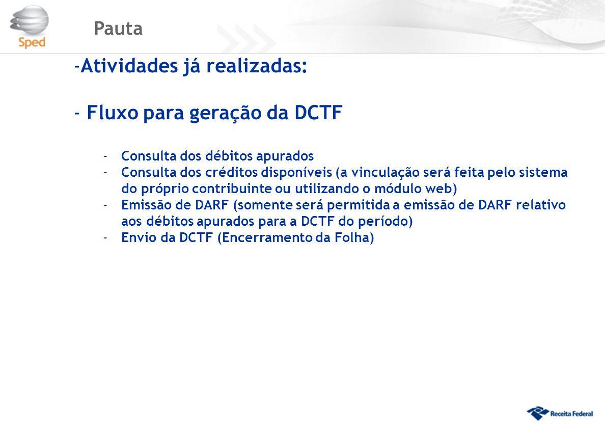 Atividades já realizadas: Fluxo para geração da DCTF
