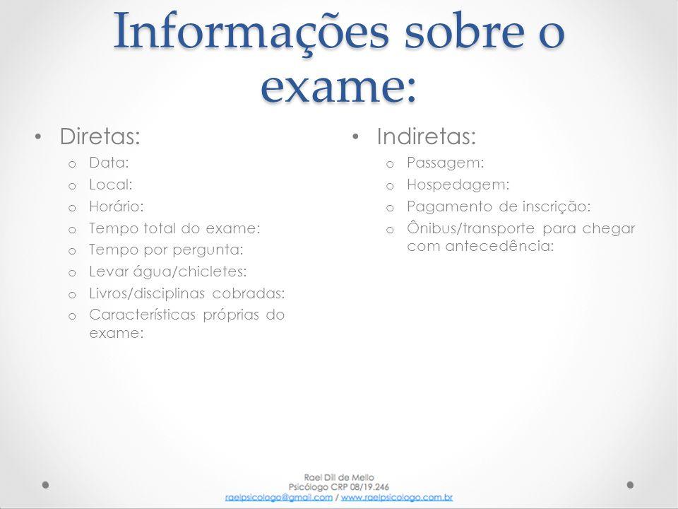 Informações sobre o exame: