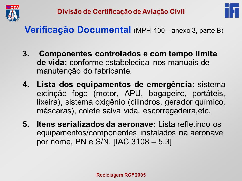 Verificação Documental (MPH-100 – anexo 3, parte B)