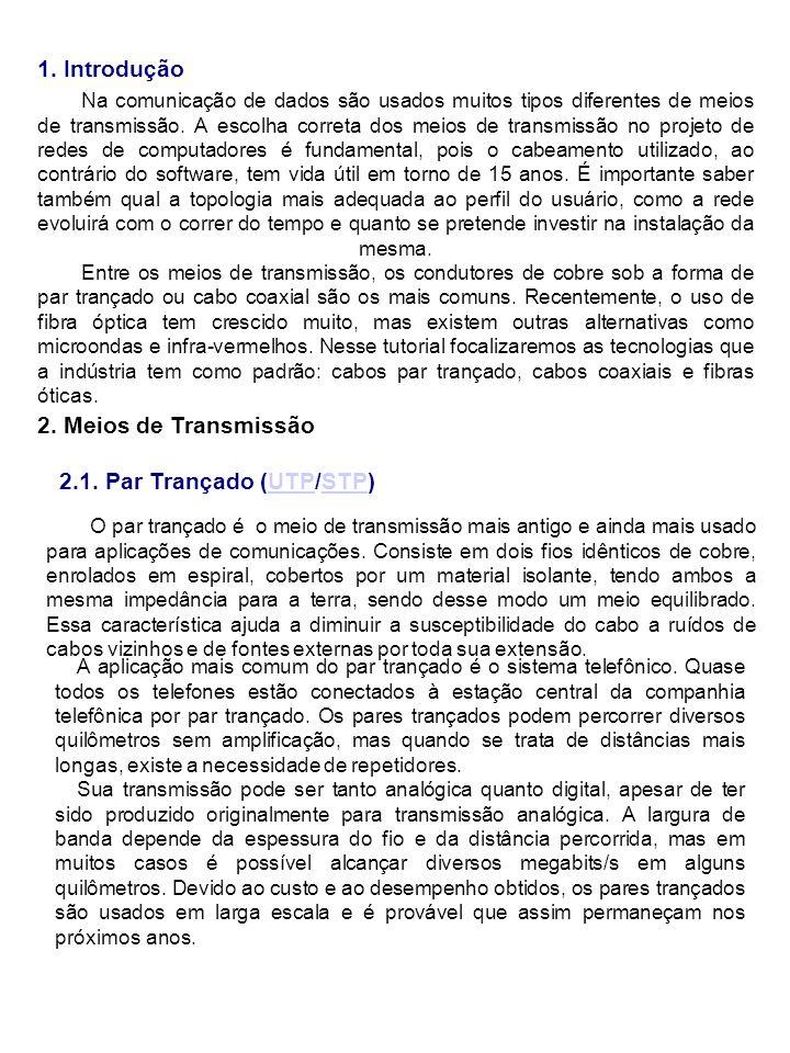 2. Meios de Transmissão 2.1. Par Trançado (UTP/STP)