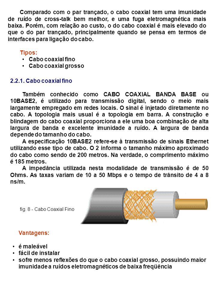 Comparado com o par trançado, o cabo coaxial tem uma imunidade de ruído de cross-talk bem melhor, e uma fuga eletromagnética mais baixa. Porém, com relação ao custo, o do cabo coaxial é mais elevado do que o do par trançado, principalmente quando se pensa em termos de interfaces para ligação do cabo.