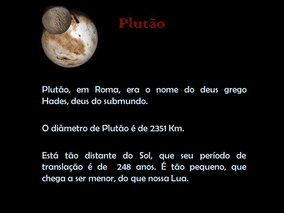 Plutão Plutão, em Roma, era o nome do deus grego Hades, deus do submundo. O diâmetro de Plutão é de 2351 Km.