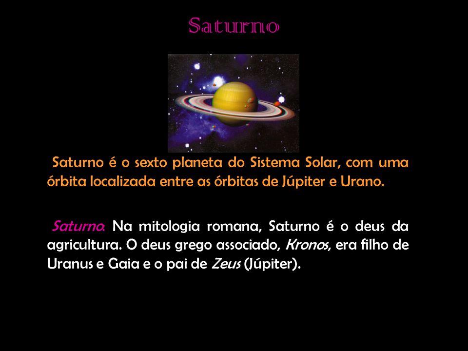 Saturno Saturno é o sexto planeta do Sistema Solar, com uma órbita localizada entre as órbitas de Júpiter e Urano.