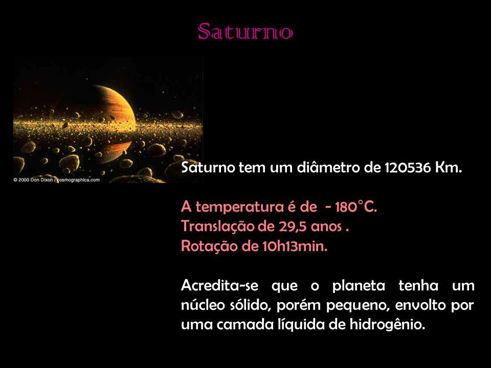 Saturno Saturno tem um diâmetro de 120536 Km.