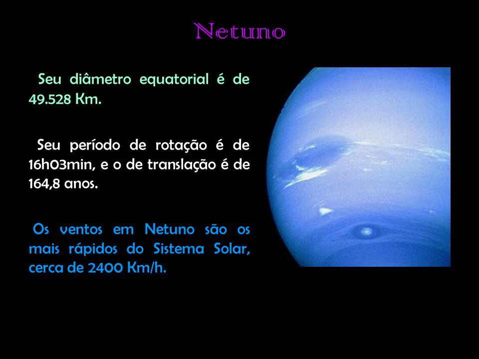 Netuno Seu diâmetro equatorial é de 49.528 Km.