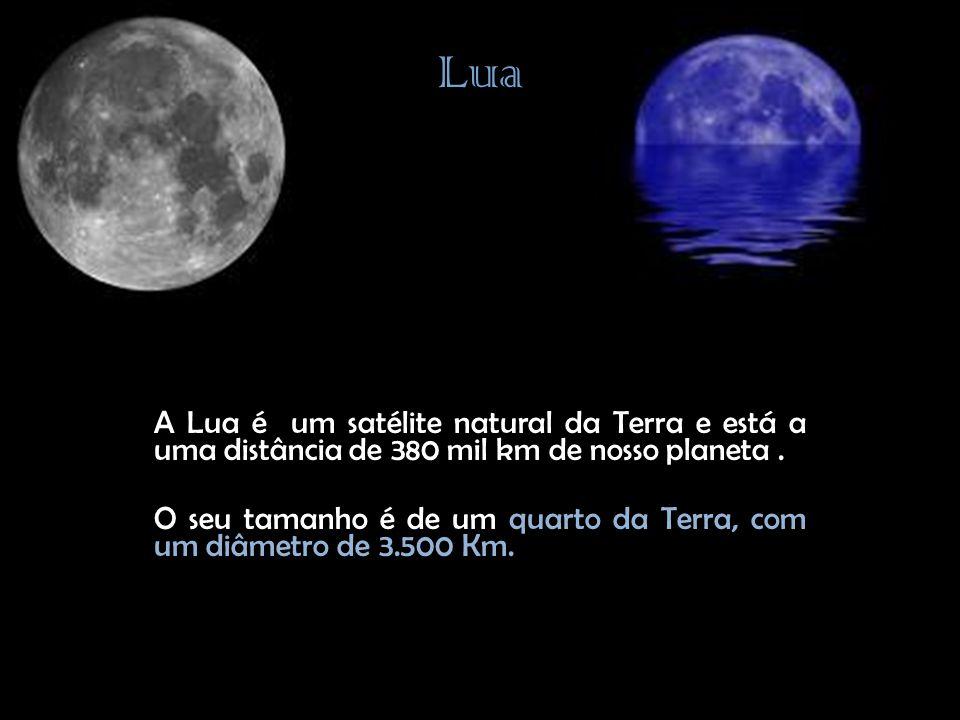 Lua A Lua é um satélite natural da Terra e está a uma distância de 380 mil km de nosso planeta .