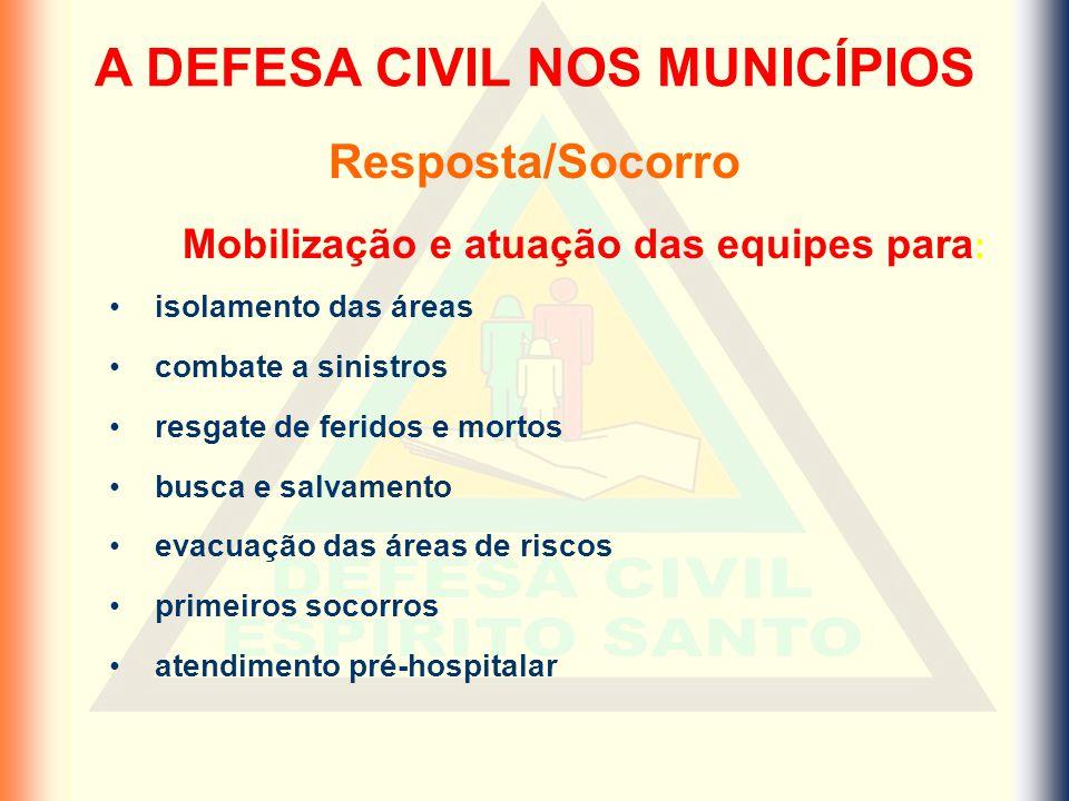 A DEFESA CIVIL NOS MUNICÍPIOS Mobilização e atuação das equipes para: