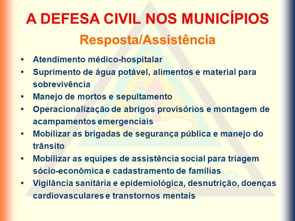 A DEFESA CIVIL NOS MUNICÍPIOS Resposta/Assistência