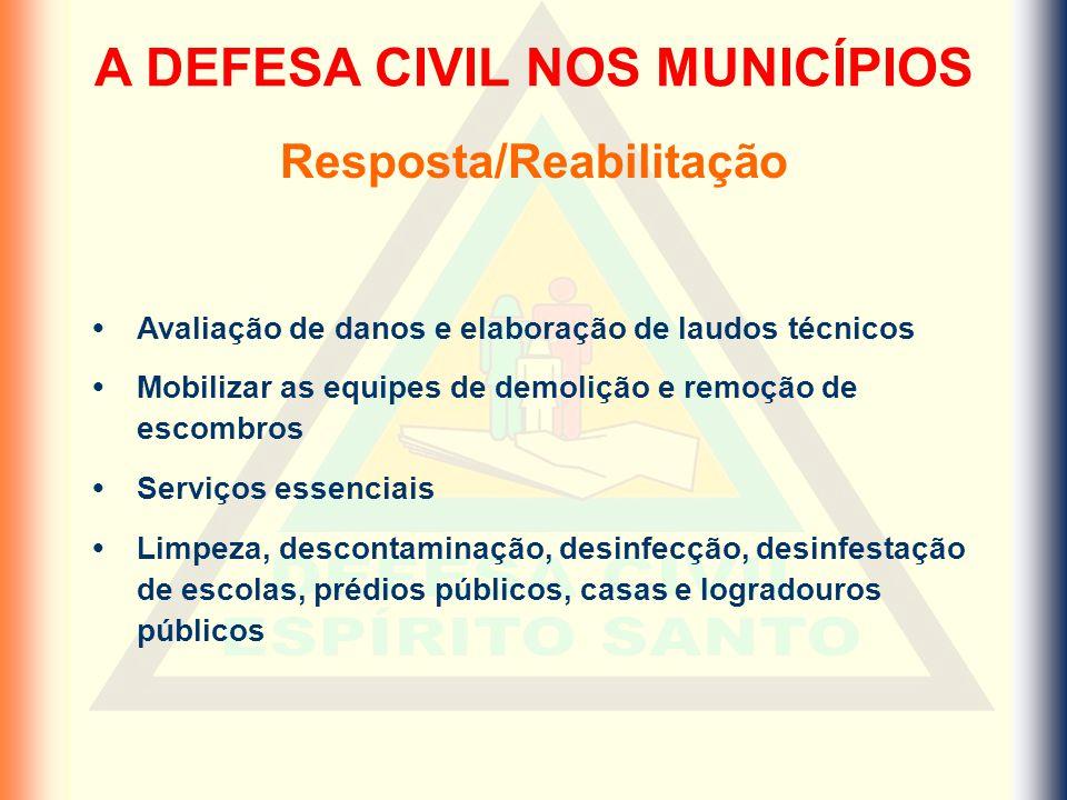 A DEFESA CIVIL NOS MUNICÍPIOS Resposta/Reabilitação