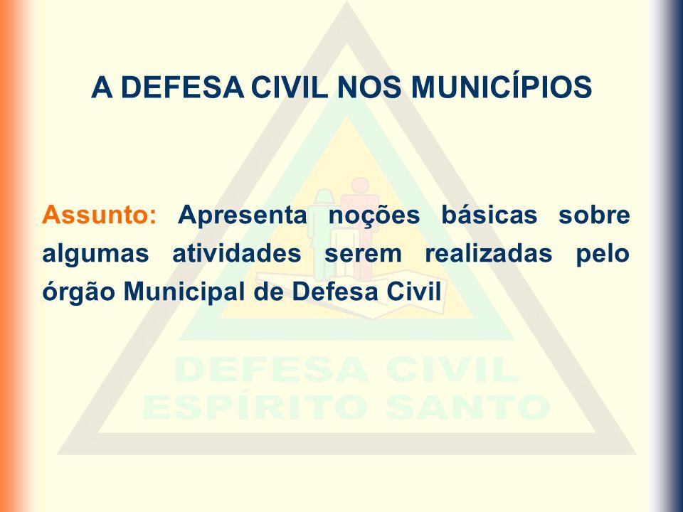 A DEFESA CIVIL NOS MUNICÍPIOS