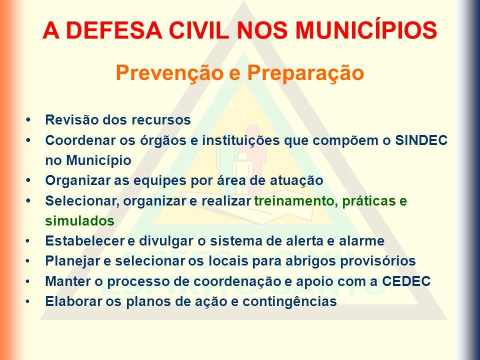 A DEFESA CIVIL NOS MUNICÍPIOS Prevenção e Preparação