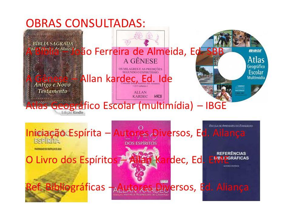 OBRAS CONSULTADAS: A Bíblia – João Ferreira de Almeida, Ed. SBB