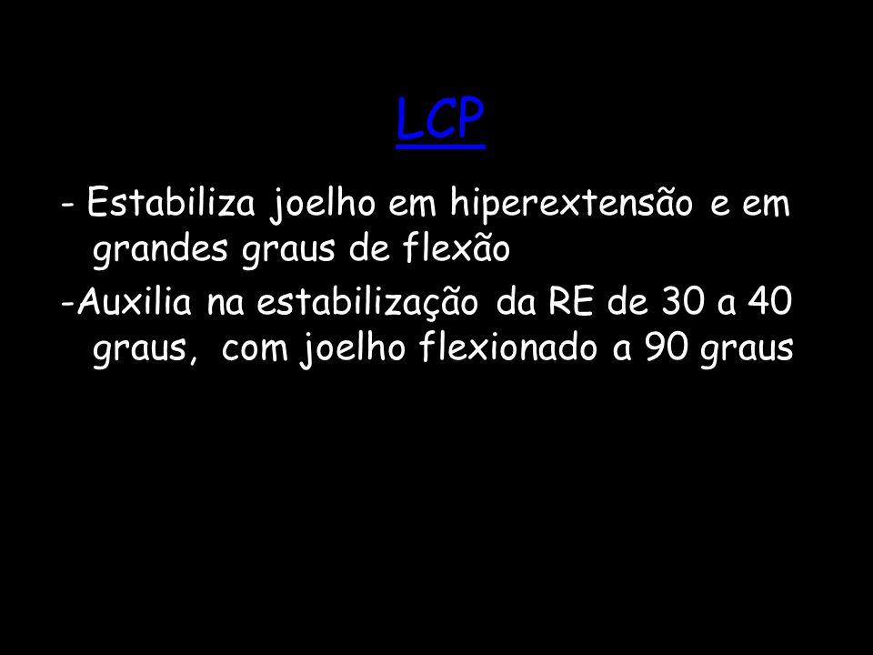 LCP - Estabiliza joelho em hiperextensão e em grandes graus de flexão