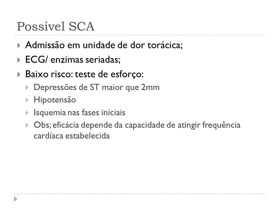 Possivel SCA Admissão em unidade de dor torácica;