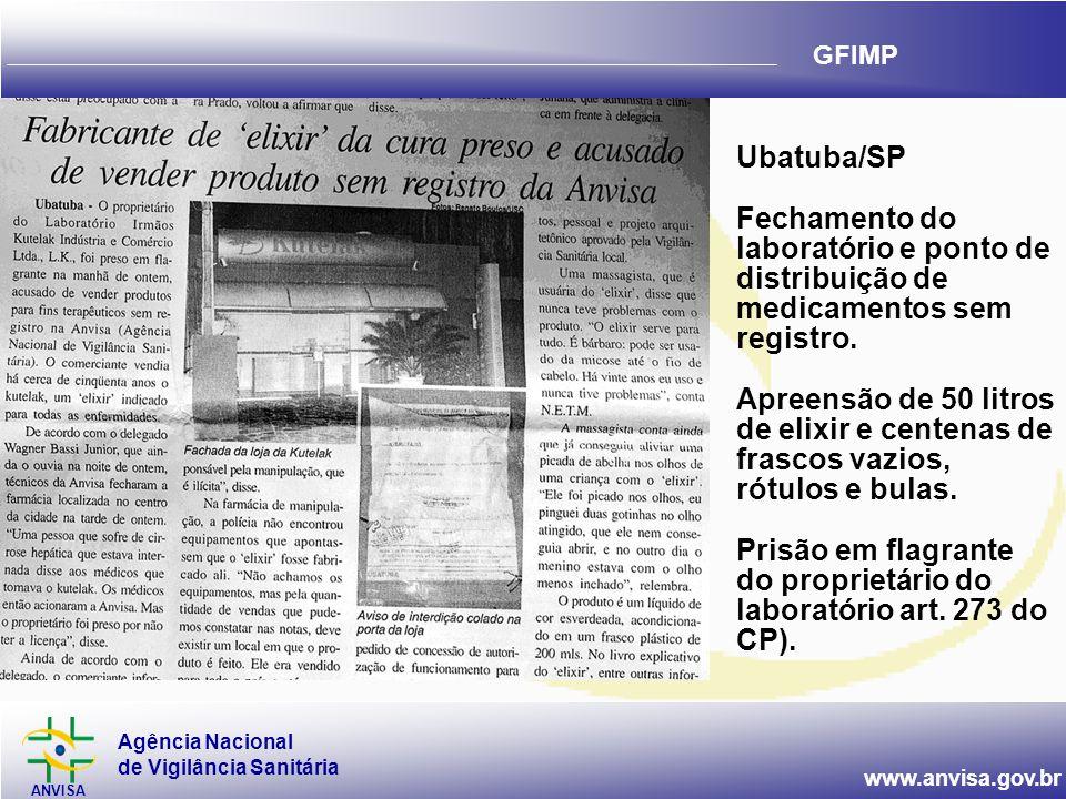 Ubatuba/SP Fechamento do laboratório e ponto de distribuição de medicamentos sem registro.