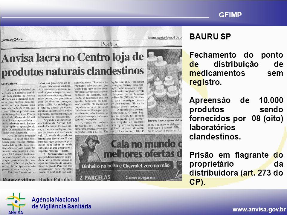 BAURU SP Fechamento do ponto de distribuição de medicamentos sem registro.