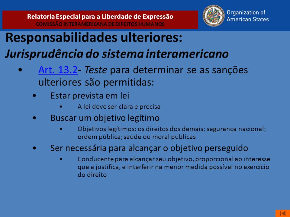 Responsabilidades ulteriores: Jurisprudência do sistema interamericano